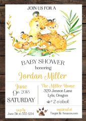 Cheetah Baby Shower Invitation