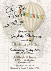 Beige Hot Air Balloon Shower Invitation