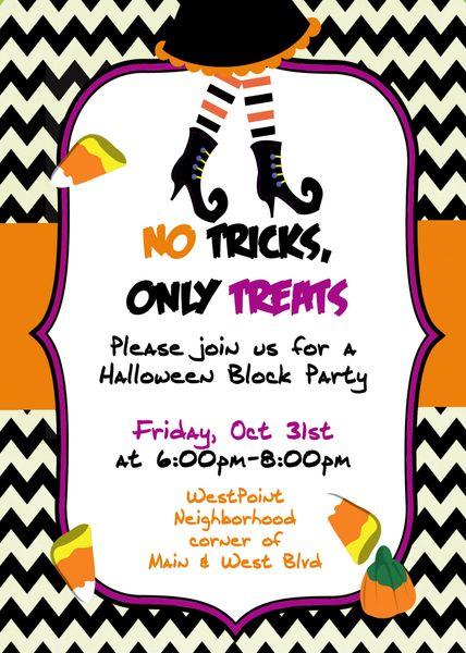No tricks only treat halloween invitation sugar and spice no tricks only treat halloween invitation stopboris Choice Image