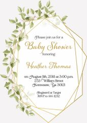 Greenery Gold Baby Shower Invitation