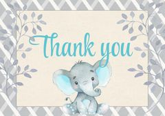 Elephant Thank You Card-Blue