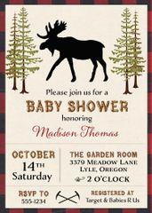 Rustic Moose Baby Shower Invitation
