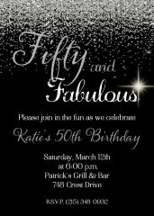 Fifty and Fabulous Birthday Invitation Silver