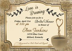 Love is Brewing Coffee Bridal Shower Invitation