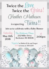 Twin Baby Elephant Shower Invitation