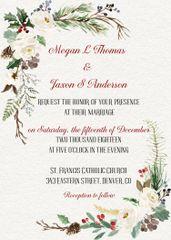 Winter Evergreen Wedding invitation