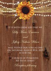 Rustic Sunflower & Lights Wedding Invitation