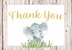 Rustic Elephant Thank You Card