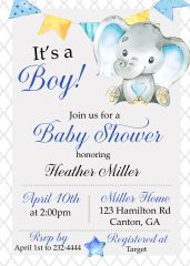 Elephant It's A Boy Baby Shower Invitation