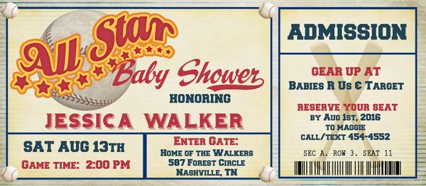 Baseball ticket baby shower invitation sugar spice invitations baseball ticket baby shower invitation filmwisefo