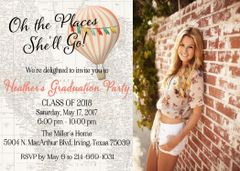 Oh the Places She'll Go Graduation Invitation