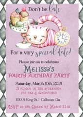 Alice In Wonderland Birthday Invitation Cat