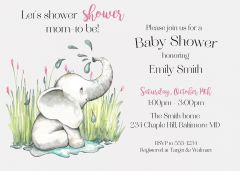 Baby Sprinkle Elephant Shower Invitation