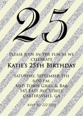 Tan and Silver Glitter 25th Birthday Invitation