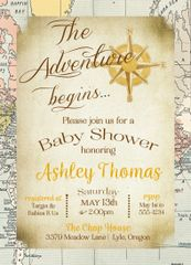 The Adventure Begins Baby Shower Invitation