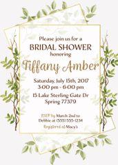 Greenery Modern Gold Bridal Shower Invitation