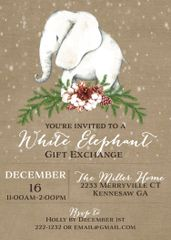 White Elephant Invitation
