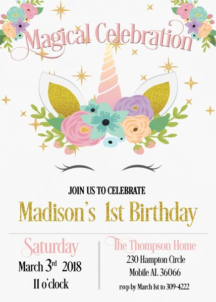Unicorn Face First Birthday Invitation