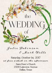 Watercolor Orchid Wedding Invitation