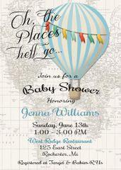 Hot Air Balloon Baby Boy Shower Invitation