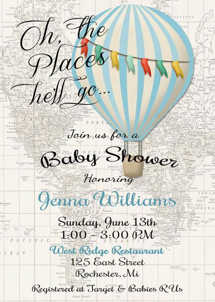 Hot Air Balloon Baby Boy Shower Invitation