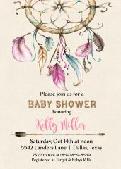 Dream Catcher Baby Shower Invitation-Girl