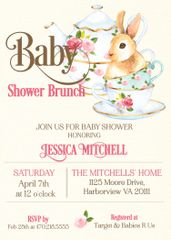 Bunny Baby Brunch Shower Invitation