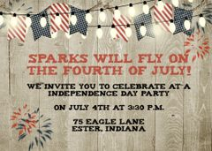 Rustic Fourth of July Party Invitation