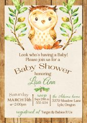 Baby Owl Shower Invitation