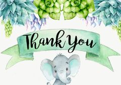Elephant Thank You Card Succulents