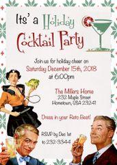 Retro Holiday Cocktail Invitation