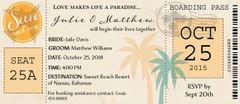Tropical Airplane Ticket Wedding Invitation