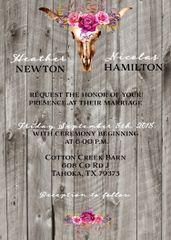 Country Western Bull Wedding Invitation