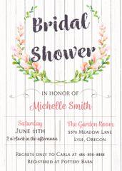 Watercolor Floral Wood Bridal Shower Invitation
