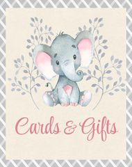 Elephant Pink Cards and Gifts Sign