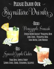 His and Hers Signature Drinks Bar Signs