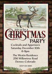 Rustic Deer Christmas Invitation