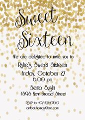 Gold Sweet Sixteen Birthday Party Invitation