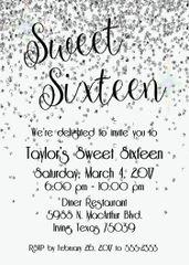 Silver Sweet Sixteen Birthday Invitation