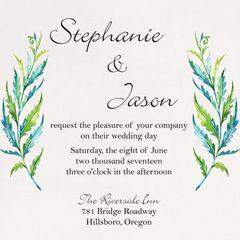 Watercolor Fern Wedding Invitation