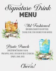 Signature Drinks Bar Sign White