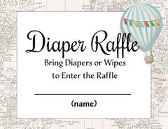 Diaper Raffle Blue Hot Air Balloon