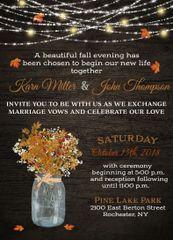 Fall Mason Jar with Maple Leaves Wedding Invitation