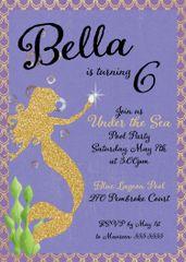 Gold Mermaid Birthday Invitation