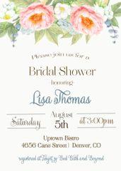 Watercolor Peonies Bridal Shower Invitation