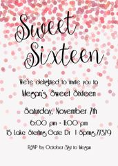Pink Sweet Sixteen Birthday Party Invitation