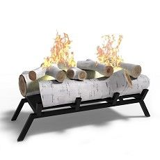 18 Inch Birch Convert to Ethanol Fireplace Log Set with Burner Insert
