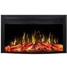 28 Inch Curved Ventless Heater Electric Fireplace Insert
