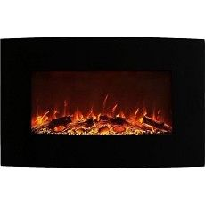 Madison 35 Inch Ventless Heater Electric Wall Mounted Fireplace - Log or Pebble