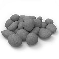 Set of 24 Light Weight Ceramic Fiber Gas Ethanol Electric fireplace Pebbles in White